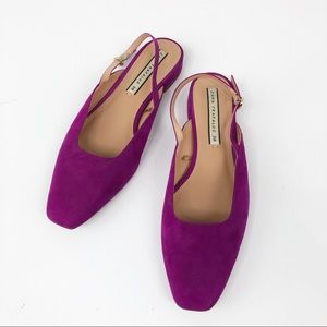 Zara Trafaluc Purple Suede Slingback Flats Size 38